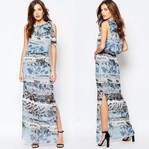 [Reiss] Ezra Blue Chiffon Maxi Dress